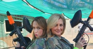 Lizzy Lovette and Karen Ledbury at Ultimate Paintball.